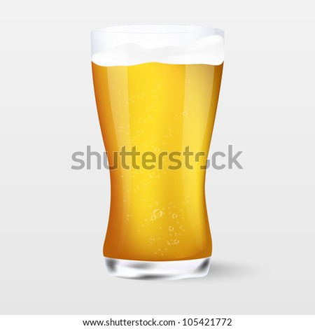 Beer. A glass of beer on white background.