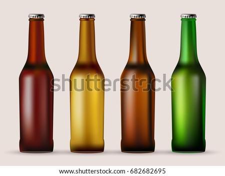 Beer. A set of glass beer bottles. Editable vector image. #682682695