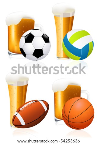 Beer and sports, vector illustration