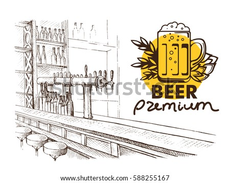 Beer bar pub, long table with chairs in graphic style vector illustration