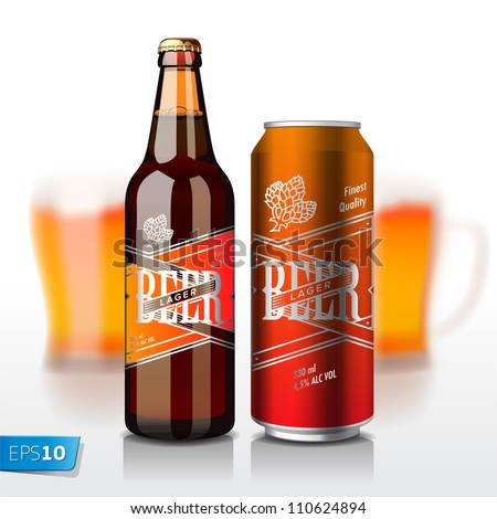 Beer bottle and can, vector Eps10 illustration