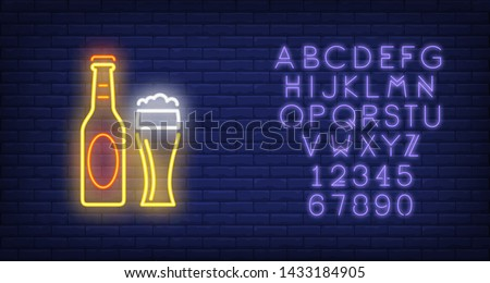 Beer bottle and glass on brick background. Neon style vector illustration. Bar, pub, alcoholic beverages store. Alcohol banner. For advertising, beverage, nightlife concepts