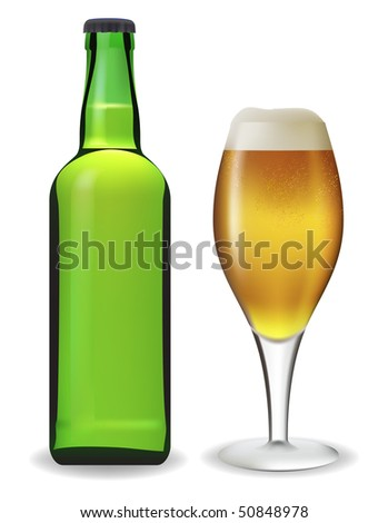 Beer bottle and glass. Vector illustration. Contains mesh.