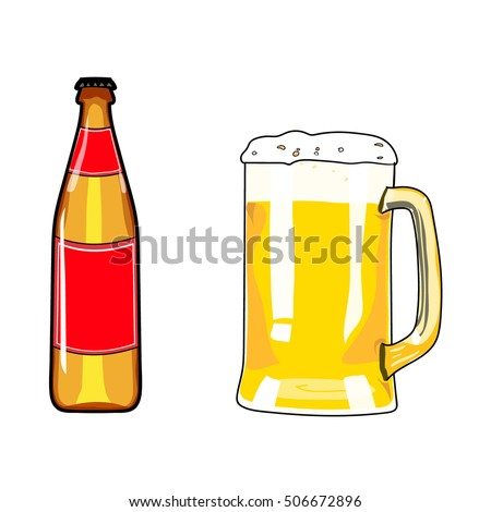 Beer bottle and mug of beer. Beer icon. Beer design element. Cartoon style beer. Hand drawing alcohol. Vector illustration beer. Beer party. Beer background. Beer poster.