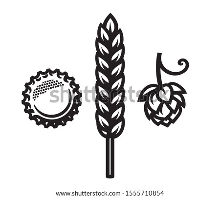 Beer bottle cap, barley or wheat ear and hop cone icons. Design element for beer prodaction, brewery, pub and bar. Vector illustration isolated on white background.