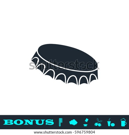 Beer bottle cap icon flat. Black pictogram on white background. Vector illustration symbol and bonus button