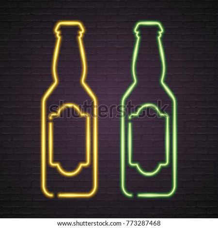 Beer Bottle Glasses Neon Light Glowing Vector Illustration. Bright Signboard, Light Yellow and Green Colour