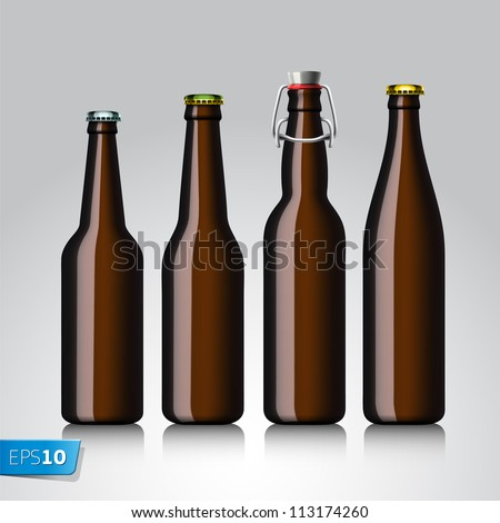 Beer bottle set with no label, vector Eps 10 illustration.