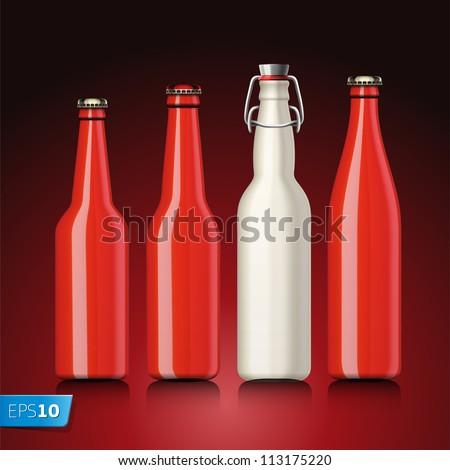 Beer bottle set with no label, vector Eps 10 illustration.