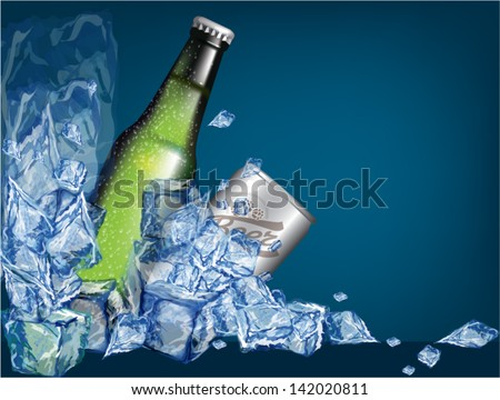 beer bottles and cans with ice