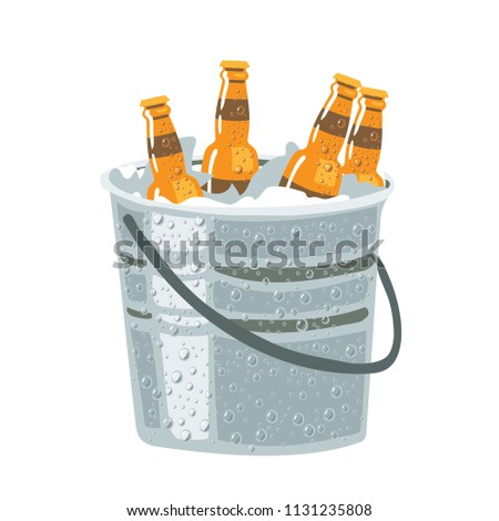 beer bottles in ice bucket
