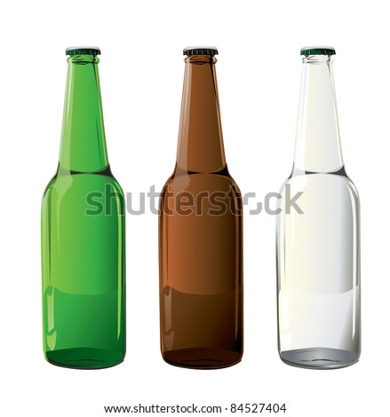beer bottles in vector