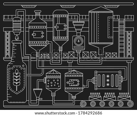 Beer Brewery production conveyor process. Line factory beer black background. Outline vintage stroke linear style vector illustration banner. October festival. ストックフォト ©