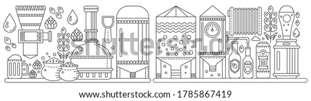 Beer Brewery production conveyor process panorama. Line factory beer black panoramic background. Outline vintage stroke linear style vector illustration banner. October Fest concept. ストックフォト ©
