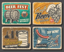 Beer brewery retro posters, alcohol drinks pub and bar, vector. Craft beer brewery and grill bar, Oktoberfest brewing traditions, sausages and snacks, beer wooden barrel and pint mug