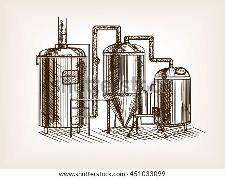 beer brewing sketch style...