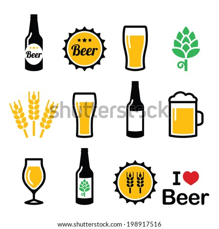 beer colorful vector icons set