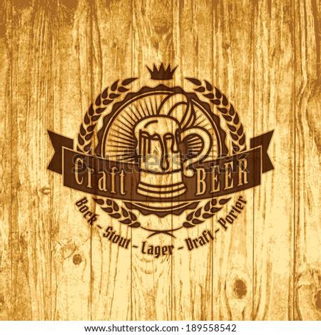beer craft brewery logo oktoberfest wood vector design typography art retro styled label of bistro or handicraft distillery beer cracked on wood beer craft brewery logo oktoberfest wood vector design