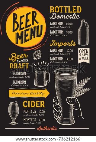 beer drink menu for restaurant