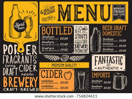 beer drink menu for restaurant