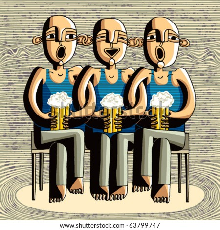 Beer drinking friends, drunk boys singing, caricature