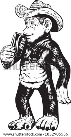 beer drinking monkey with