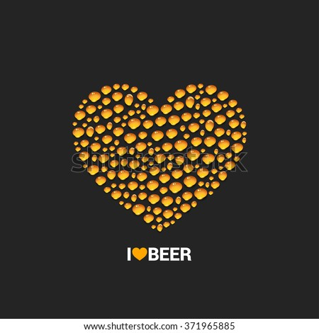 beer drops heart concept design