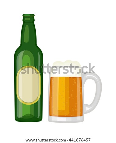 beer glass bottle on white
