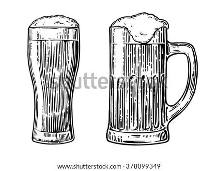 beer glass engraving vintage