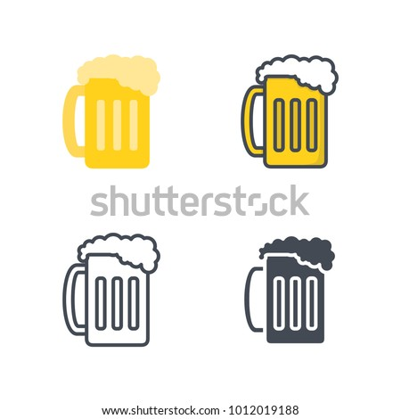 Beer glass flat line icon