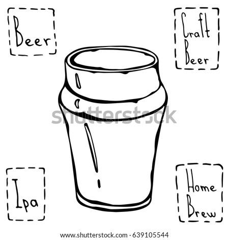 Beer Glass Nonic Pint Type. Hand Drawn Vector Illustraition. Stock photo ©