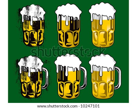 beer glass set - stock vector