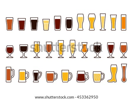 Beer glass. Set icons of beer mugs and glasses, vector illustration