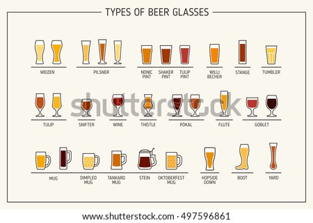 Beer glass types. Beer glasses, mugs with names. Vector illustration