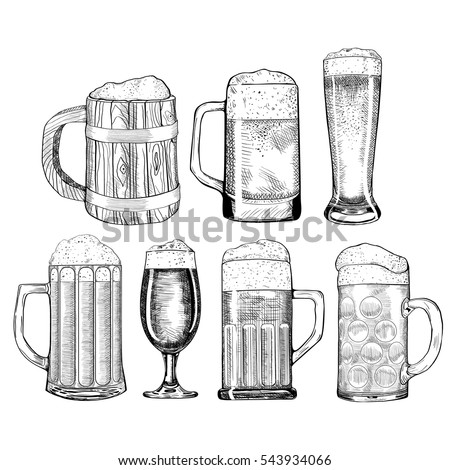 Beer glass, wooden mug. Sketch style vector illustration. Hand drawn isolated beverage object on white background. Alcoholic drink drawing. Great for restaurant, bar, pub menu, oktoberfest