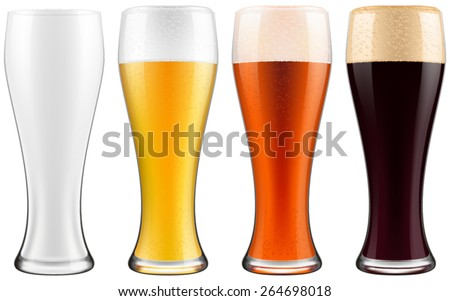 beer glasses  four versions
