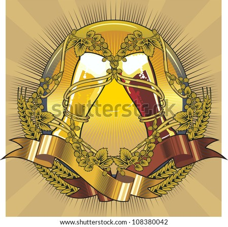 beer glasses label, dark and light - stock vector