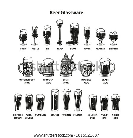 Beer glassware guide. Big vintage set of different types of beer glasses and mugs. Hand drawn engraving style vector illustration isolated on white background. Stock photo ©