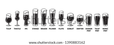Beer glassware guide. Various types of beer glasses. Hand drawn vector illustration isolated on white background. Stock photo ©