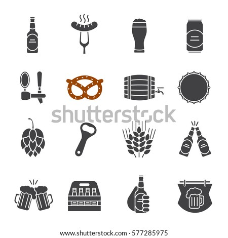 beer glyph icons set bar and