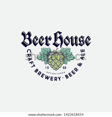 Beer House Logo. Brewing Company Logo. Beer Pub Emblem on Light Background. Hop Cones and Typographic Composition.