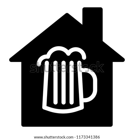 Beer house solid icon. House and a glass of beer vector illustration isolated on white. Beer mug with foam and house glyph style design, designed for web and app. Eps 10