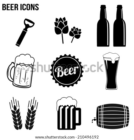 beer icons set on white
