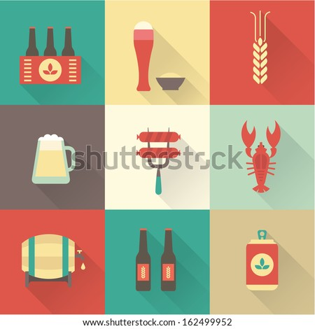 Beer icons set vector