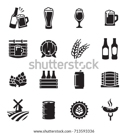 beer icons set vector  black