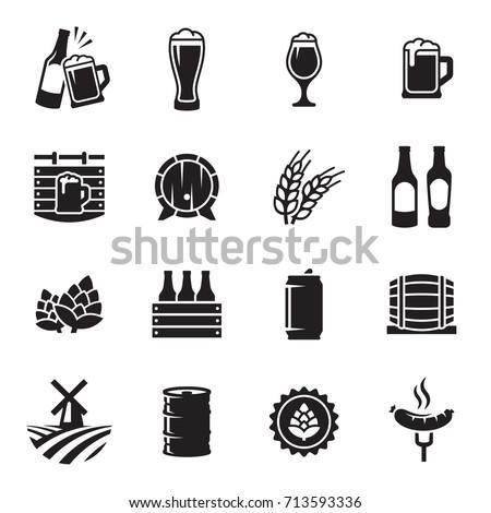 beer icons set vector  black