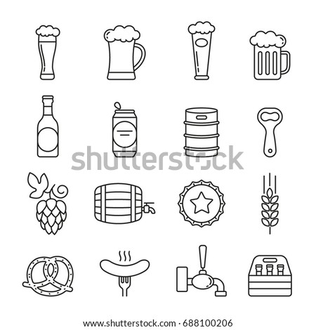 Beer icons: thin monochrome icon set, black and white kit