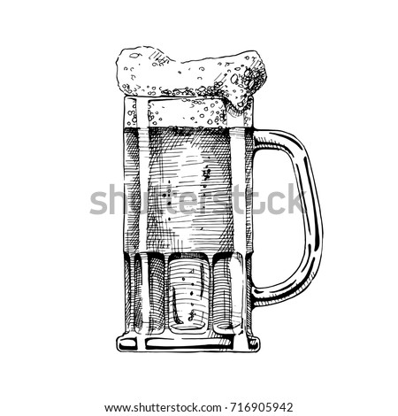 beer in tankard glass. vector...