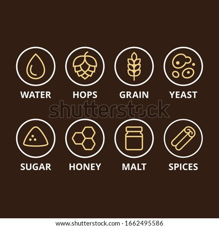 Beer ingredient icons. Basic ingredients like hops, grain and yeast, and optional add-ins. Homebrewing, craft beer making symbol set. Stock fotó ©