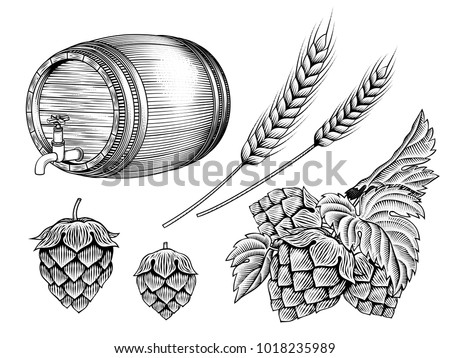 Beer ingredients set, barrel, wheat ears and hops in etching shading style on white background
